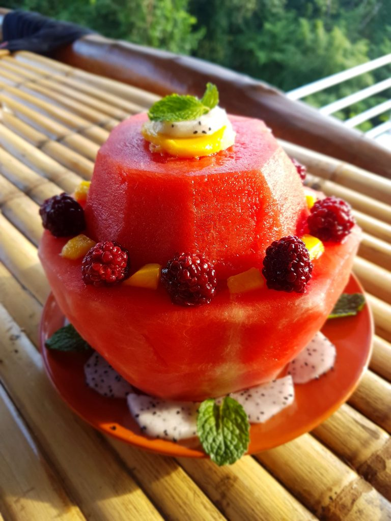 watermelon cake with berries as decoration