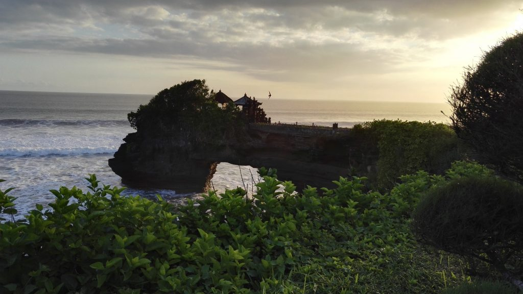 Tanah Lot temple on a rock above the sea was one of the most beautiful things in this Bali Trip