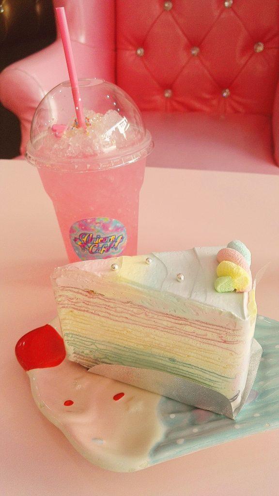 Pancake rainbow cake with a lyche soda