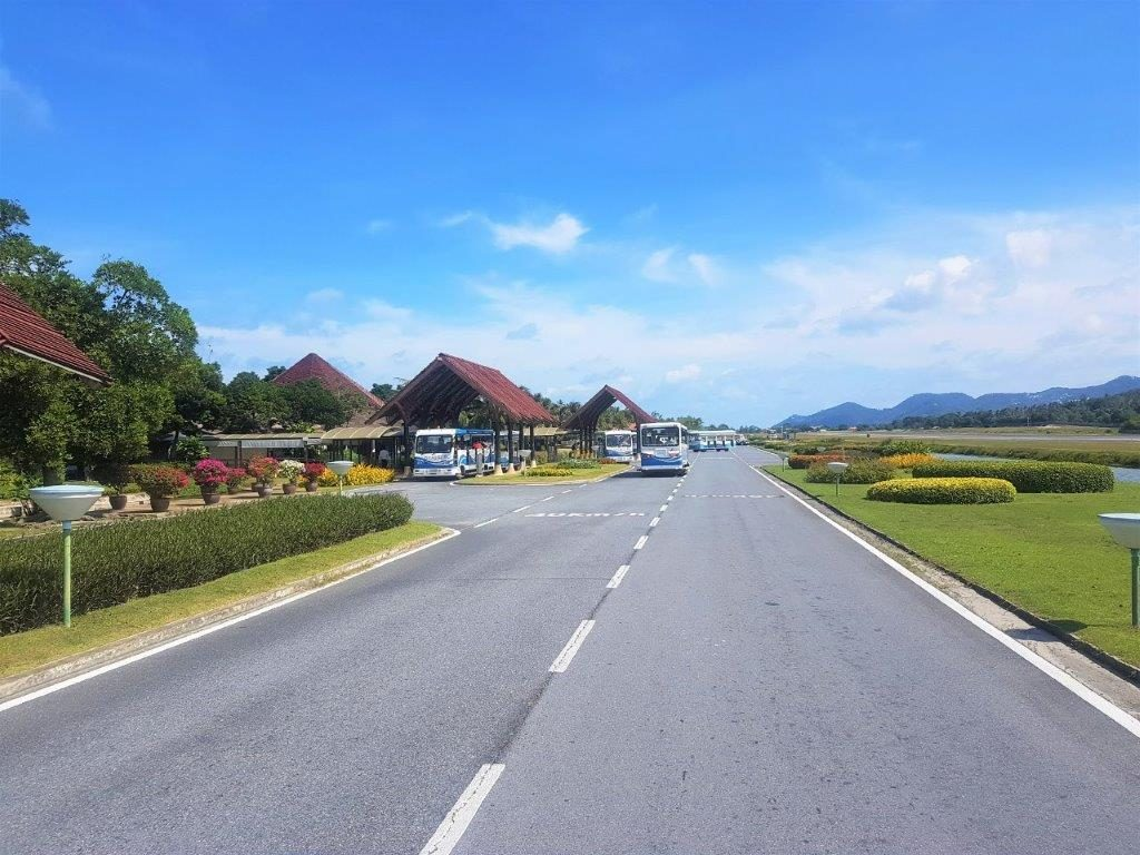 Koh Samui airport is situated in a tropic setting