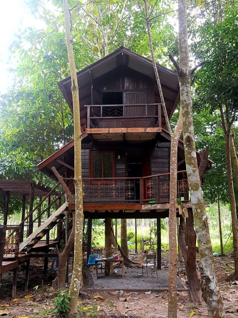 Volunteer work in Thailand can mean sleeping in a simple hut such as this quirky treehouse