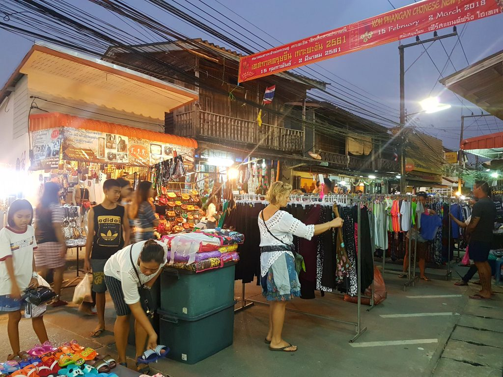 The Chinese walking street market at night
