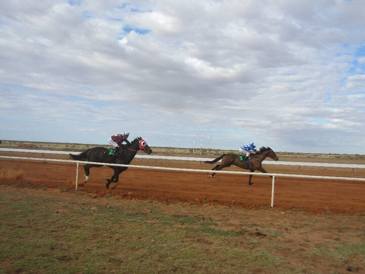 horses galloping with rider jockeys