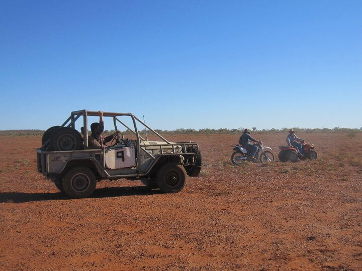 Mustering the cattle with near-to-its-death jeep and motorbikes