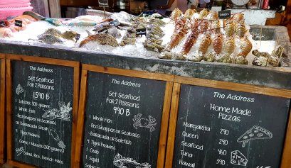 A selection of raw seafood on display