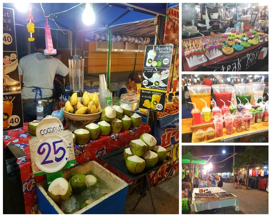 Different food and drink stalls and shops set up at the walking street of Fisherman's Village, Koh Samui