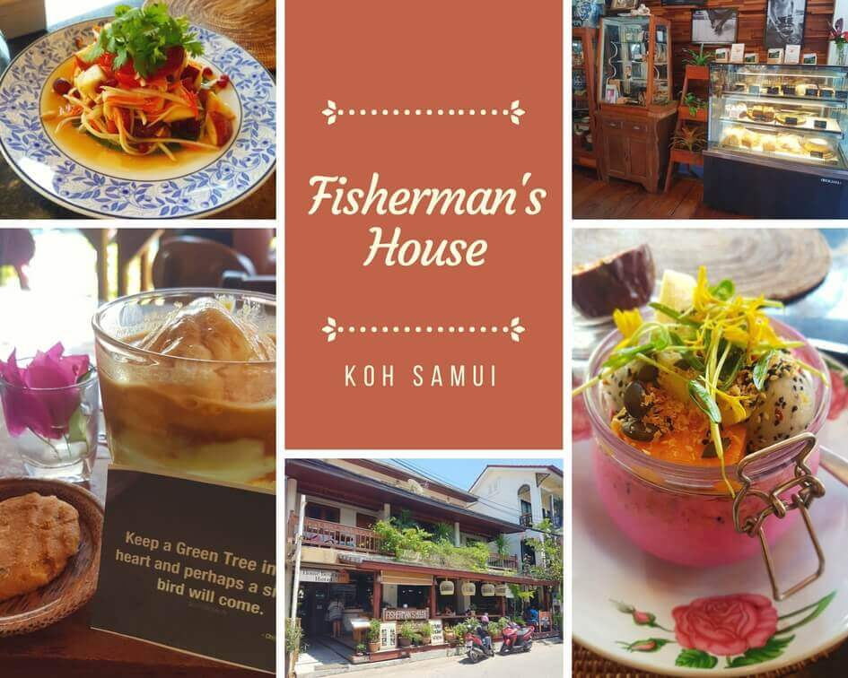 A collection of different dishes and a picture of the restaurant from outside