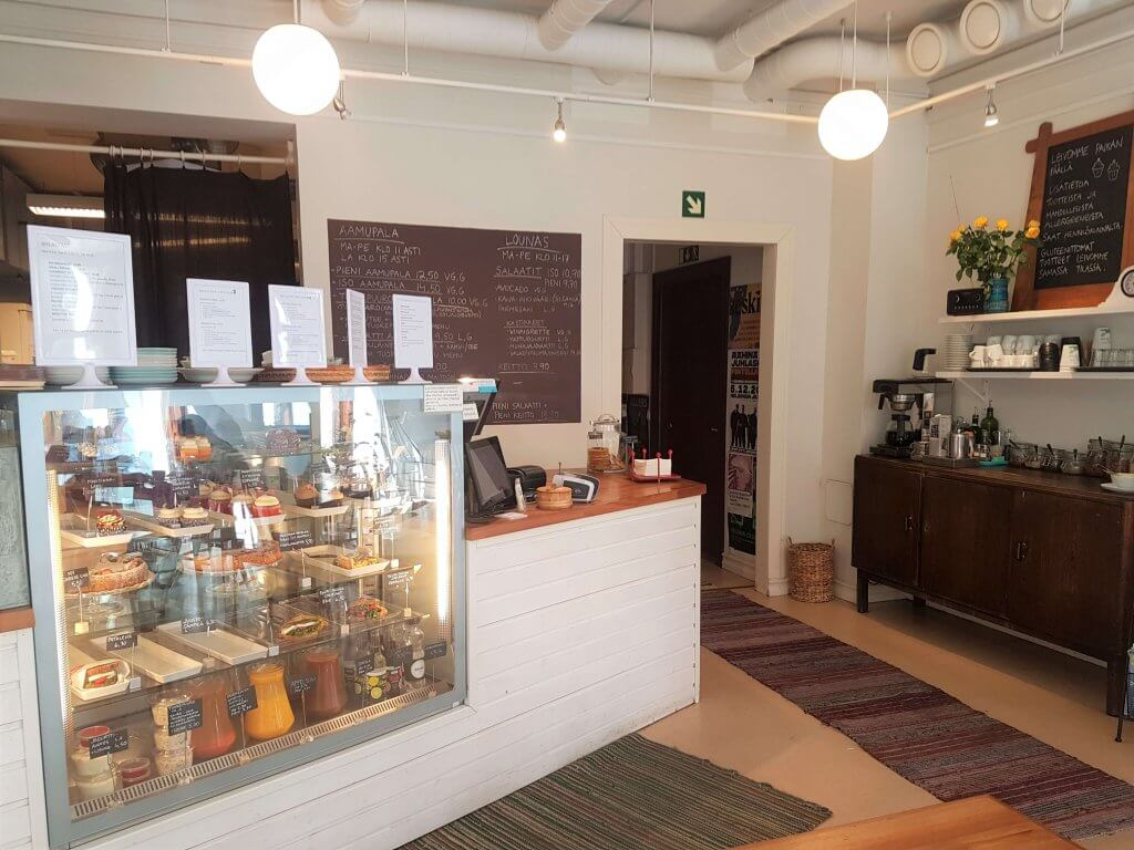 Inside the cafe with display in the front