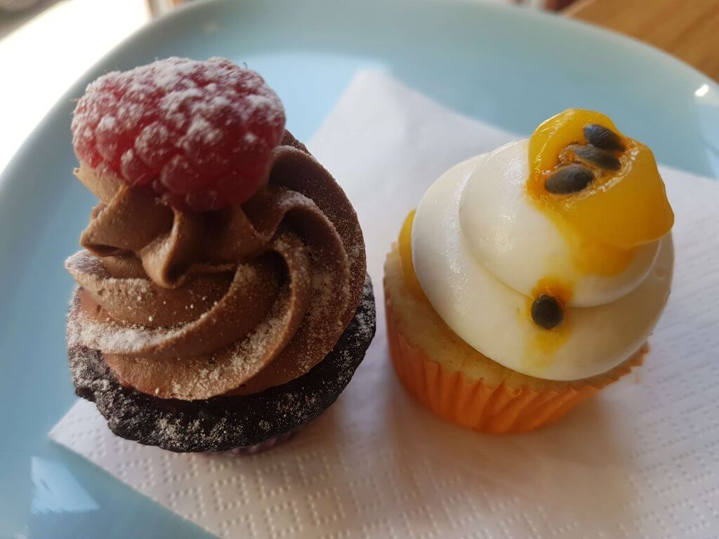 Raspberry-chocolate and the divine passion fruit cupcake