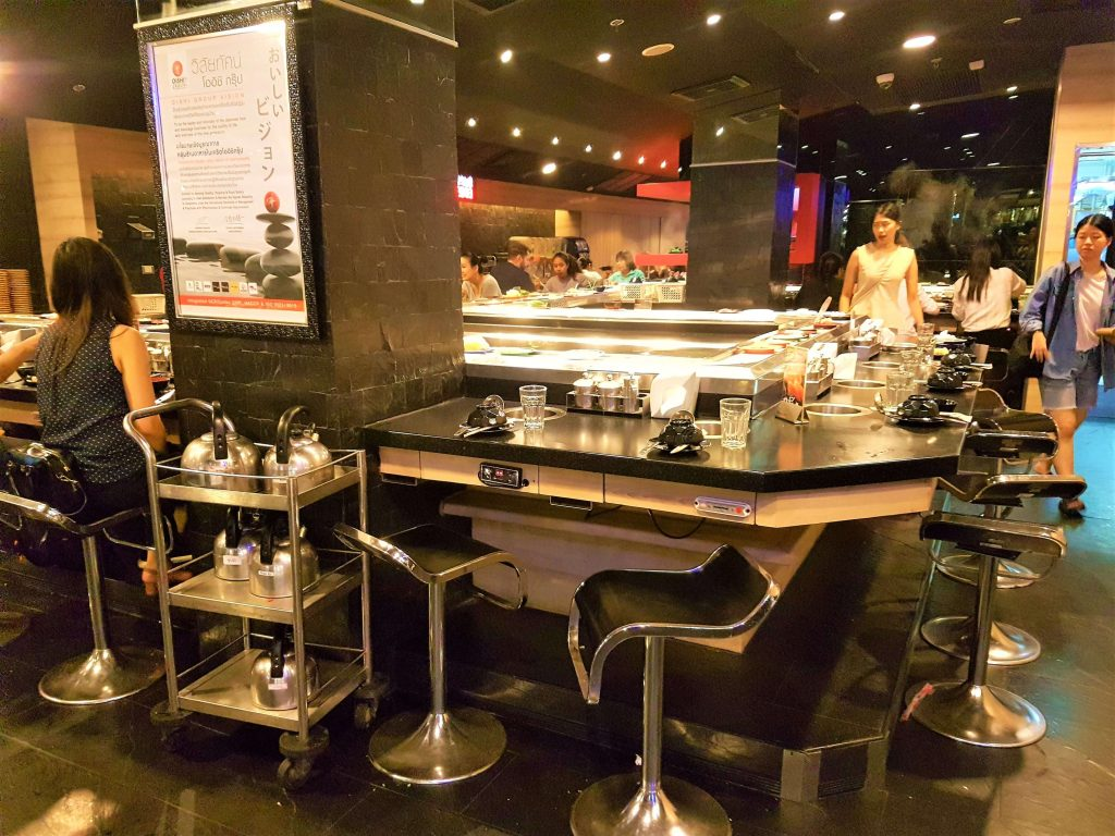 A sushi belt table with bar stools around it
