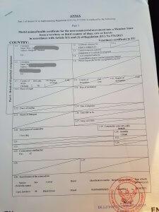 EU modelled health certificate paper