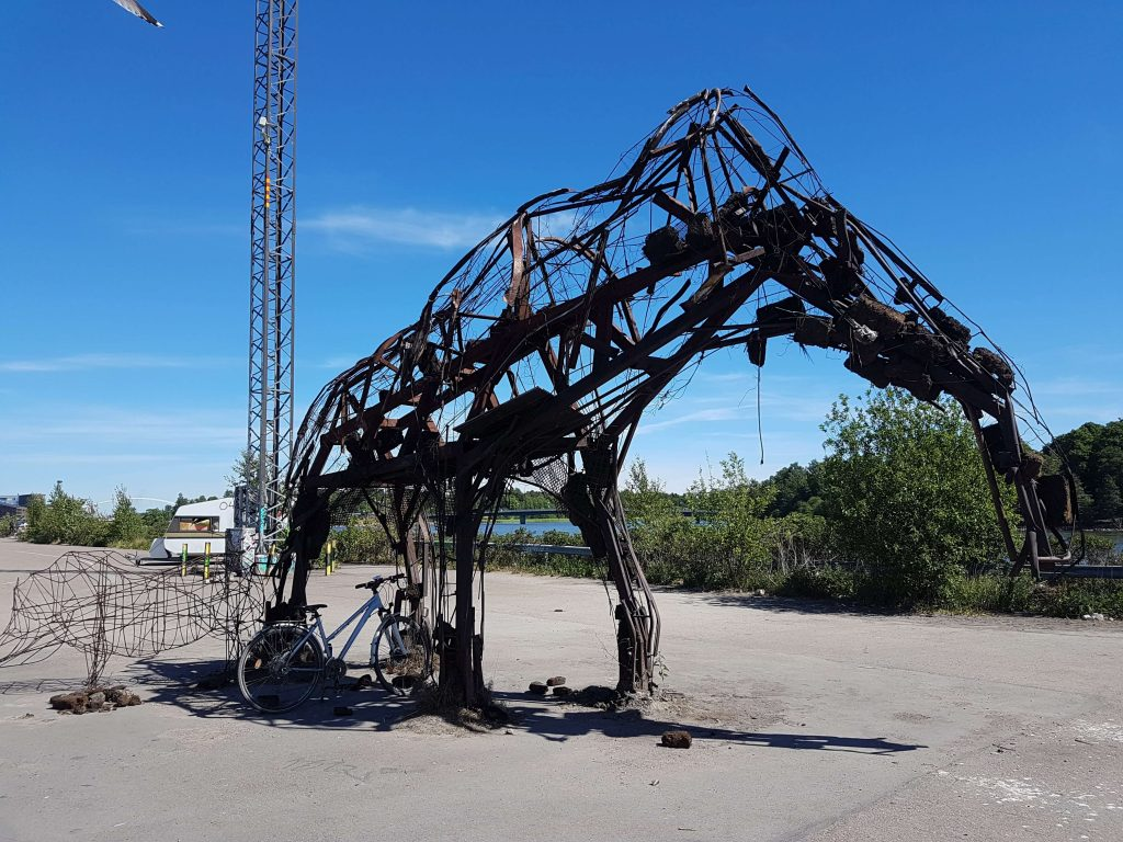 The elephant art installation after being burnt