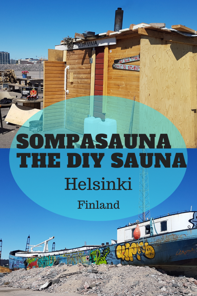 A pic collage with the sauna and an old boat