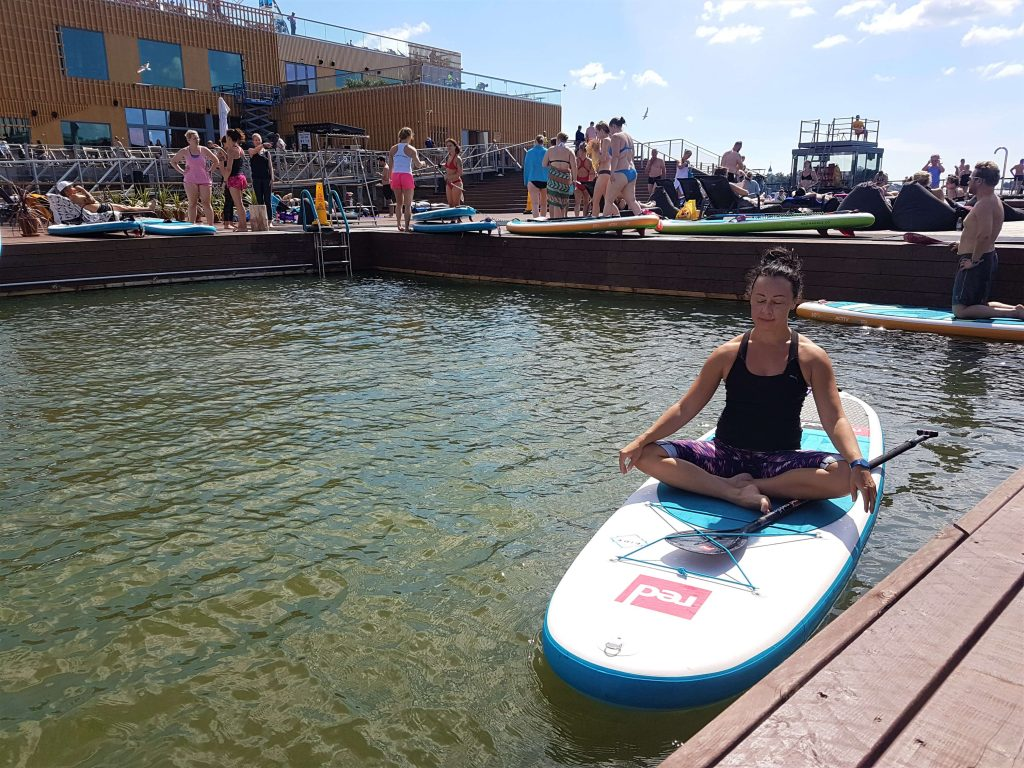 Me in lotus on a SUP board