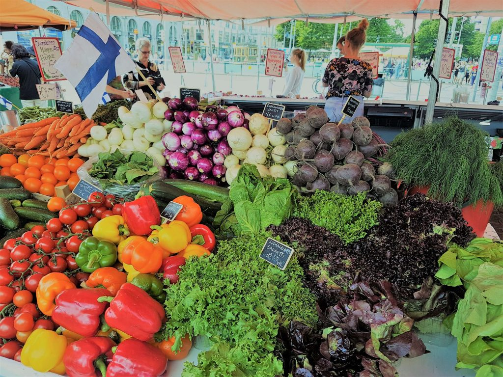 Fresh veggies on display at the market place