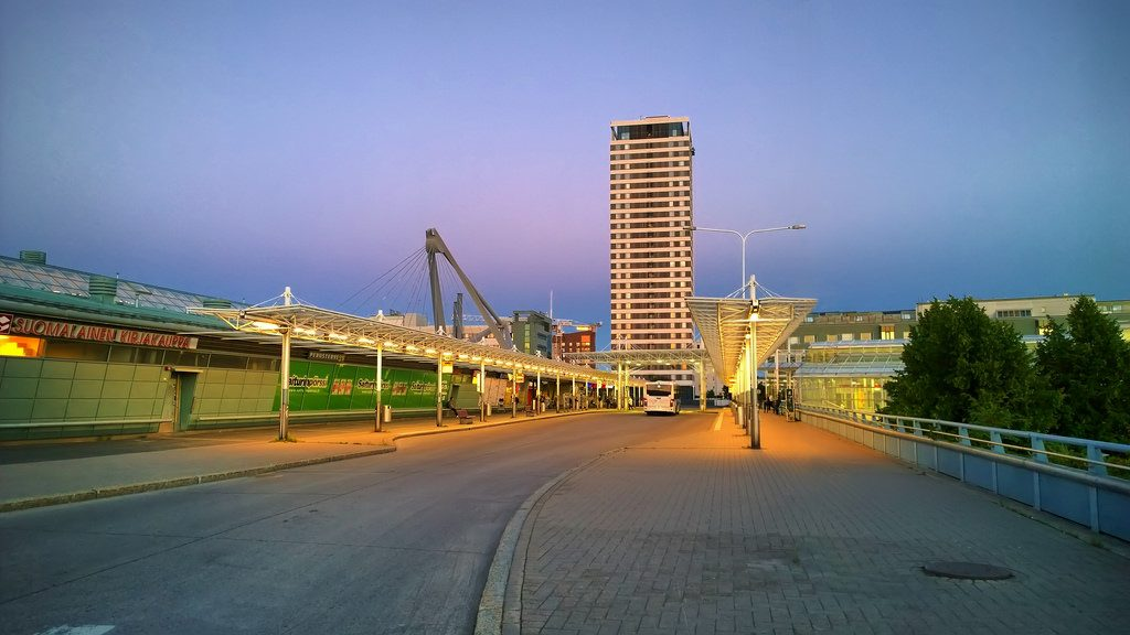 Vuosaari metro station and Cirrus in the background