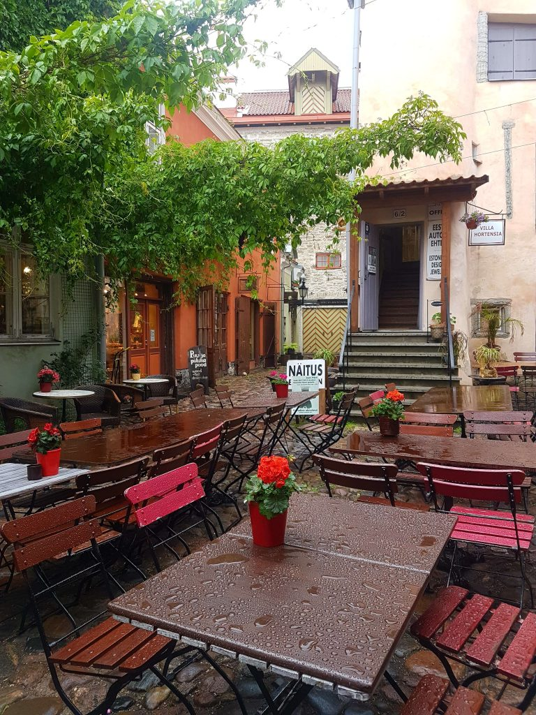 An idyllic courtyard with tables, chairs and wine leaves