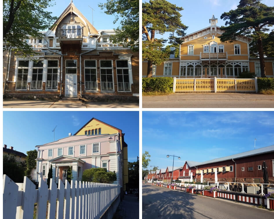 A pic collage of different coloured wooden villas in Hanko