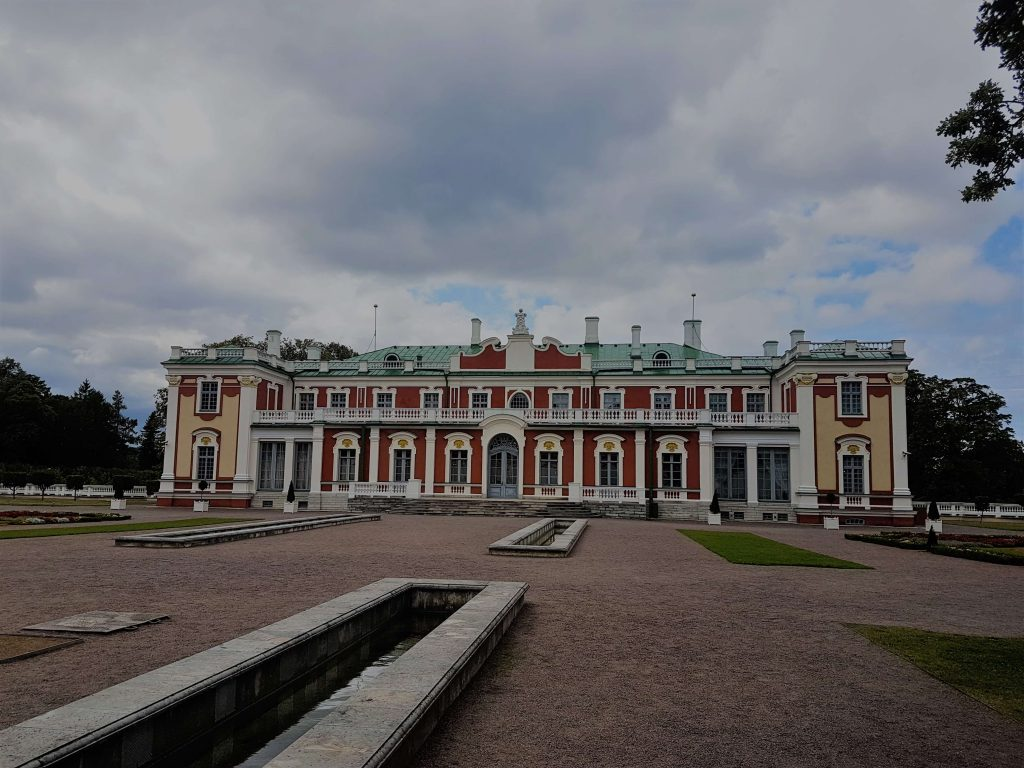 Kadriorg Palace on a cloudy day is one of the most beautiful buildings in Tallinn