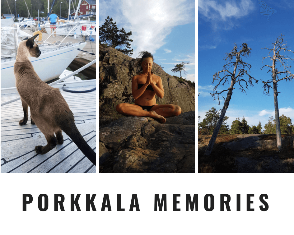 Pic collage showing me meditating, a cat on the sailing boat and forest