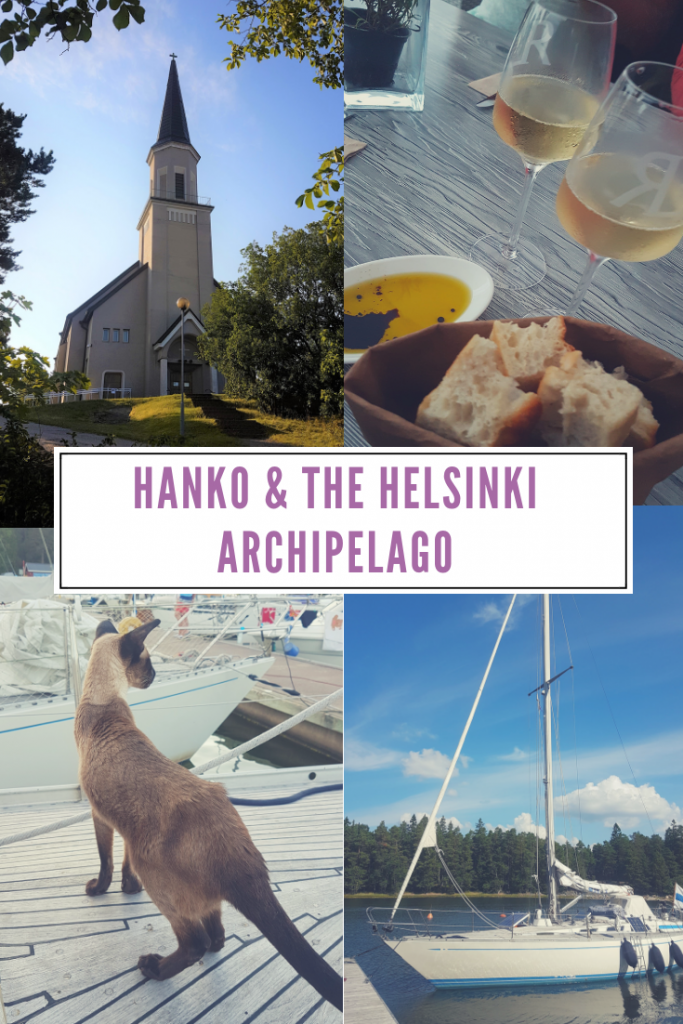 A pic collage consisting of a sailing boat, church, wine with bread and a cat on a boat