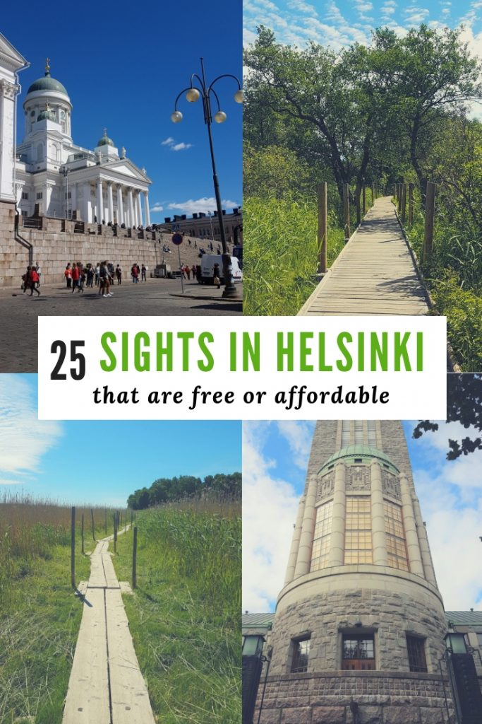 A pic collage of Helsinki sights, 2 churches and nature