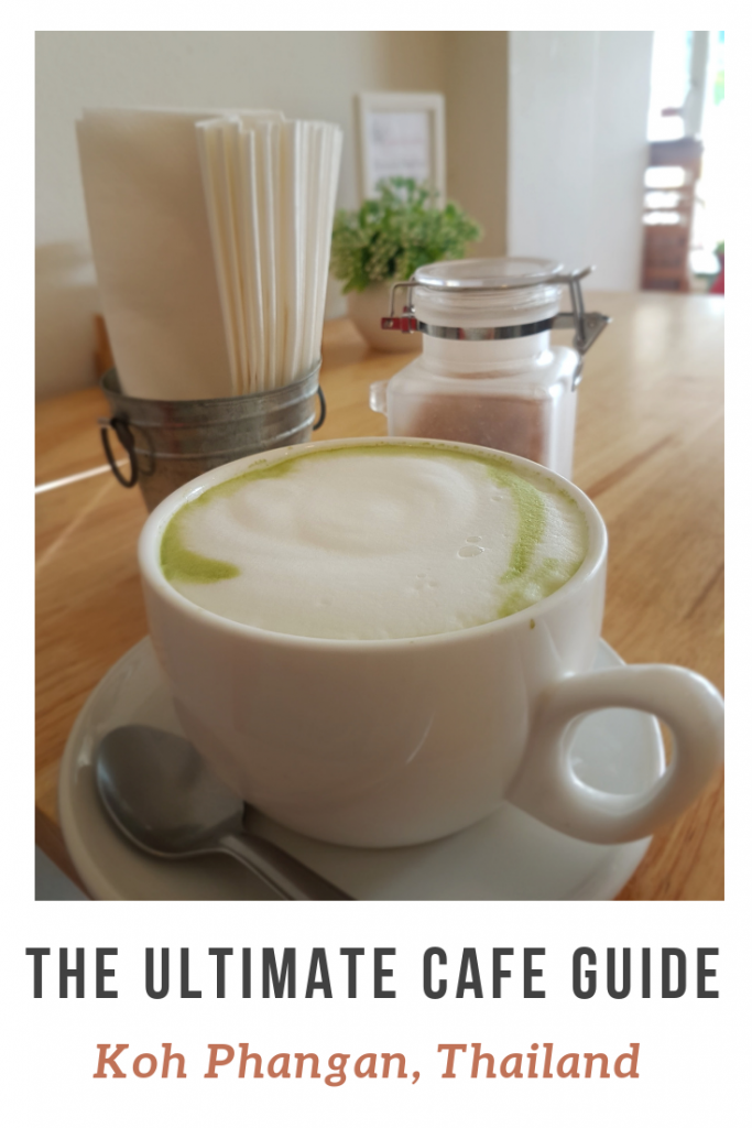 A macha cappuccino on the table