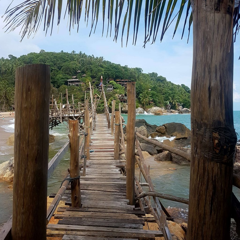 A wooden walkway on top of sea