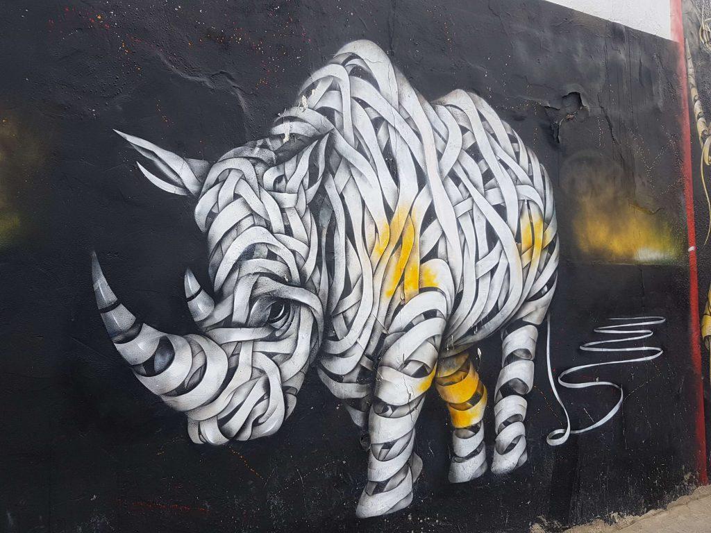street art: a big rhino