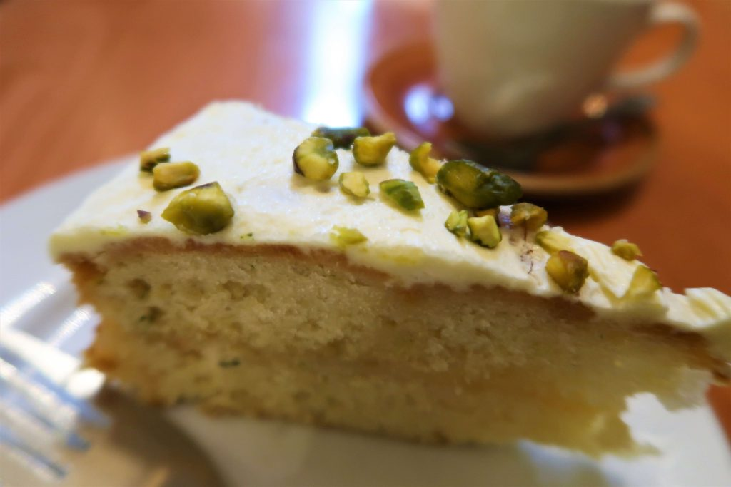 The tasty and moist piece of lemon cake