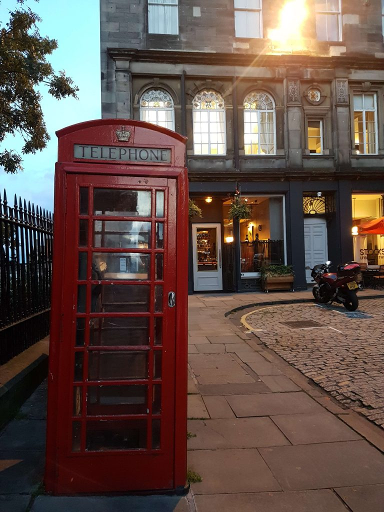 Old Town in dawn with the classic red phone booth