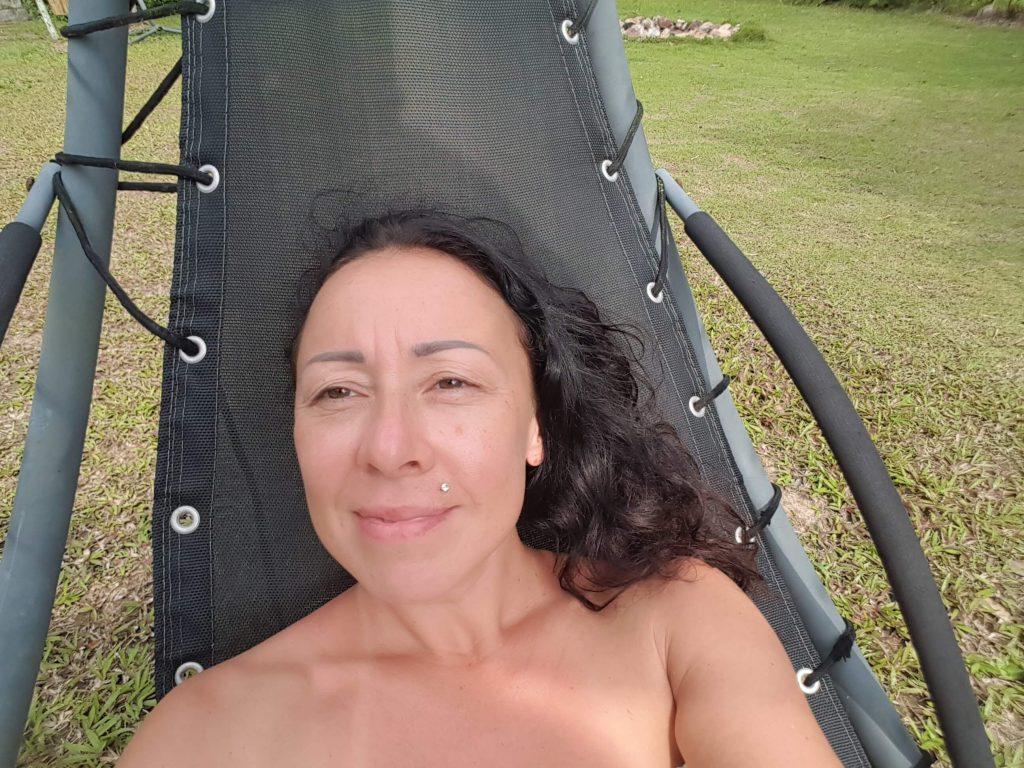 Me Being zen in the garden of the Wonderland Healing Center on KOh Phangan