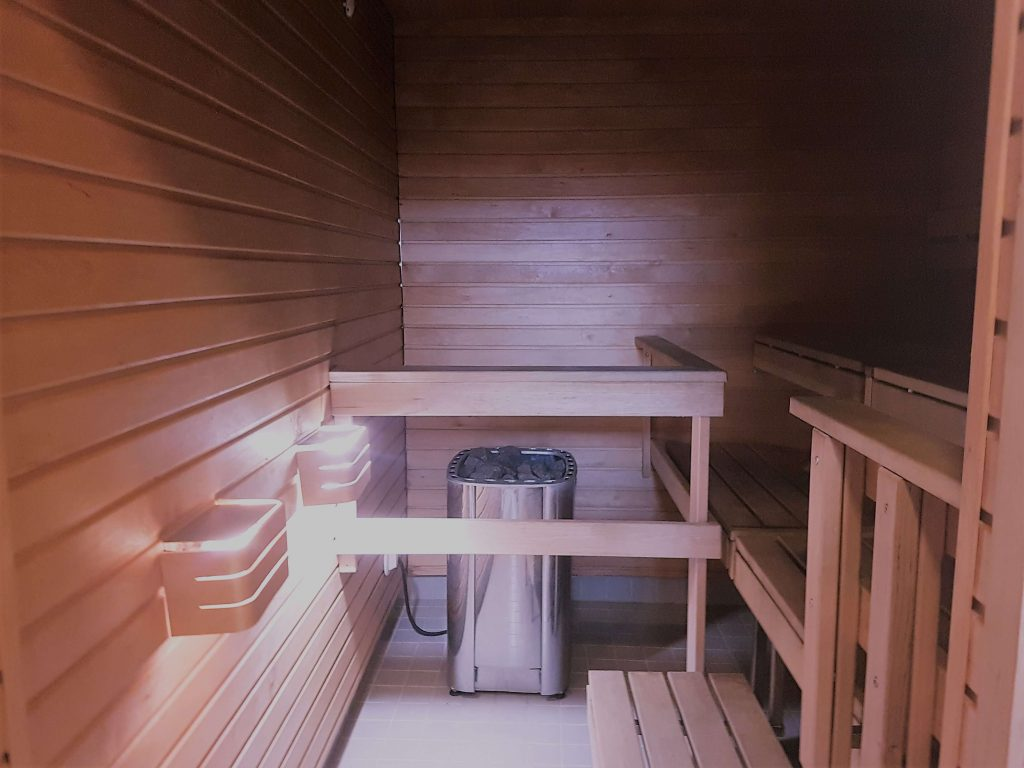 A typical Finnish sauna from inside