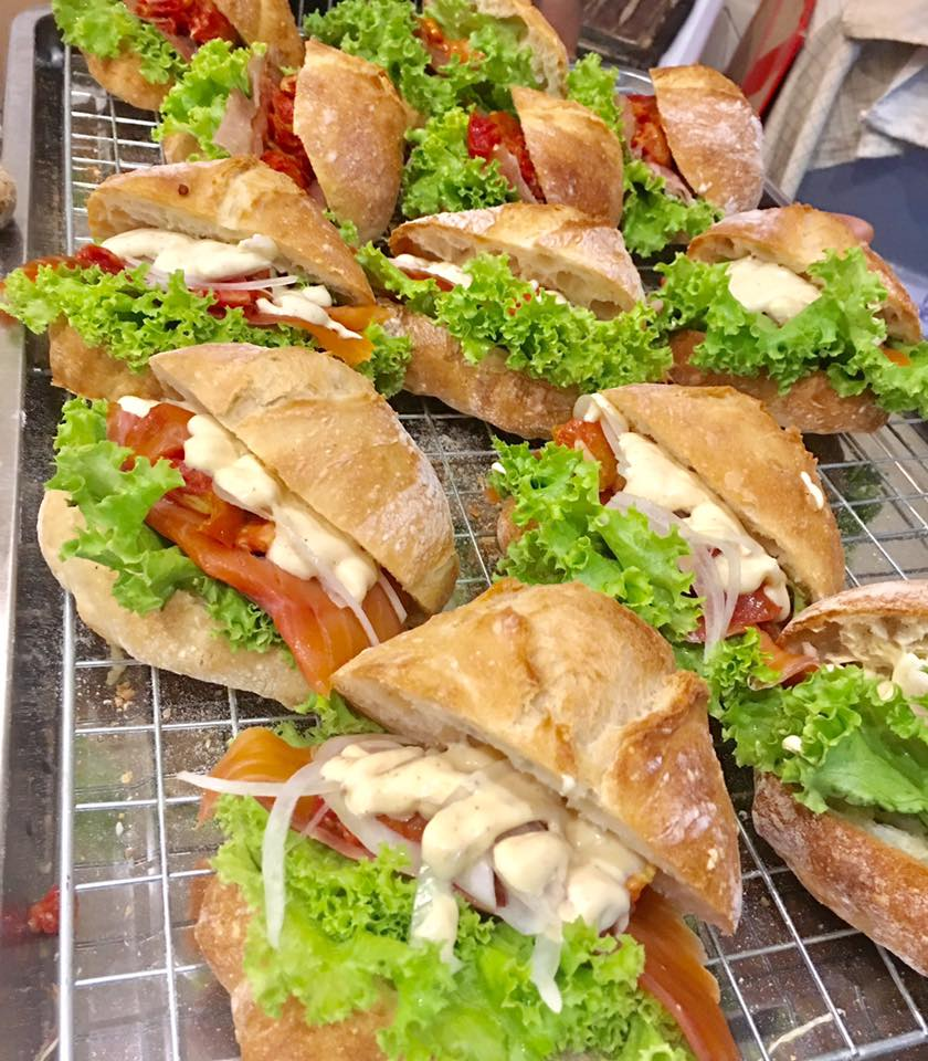 Delicious filled sandwiches