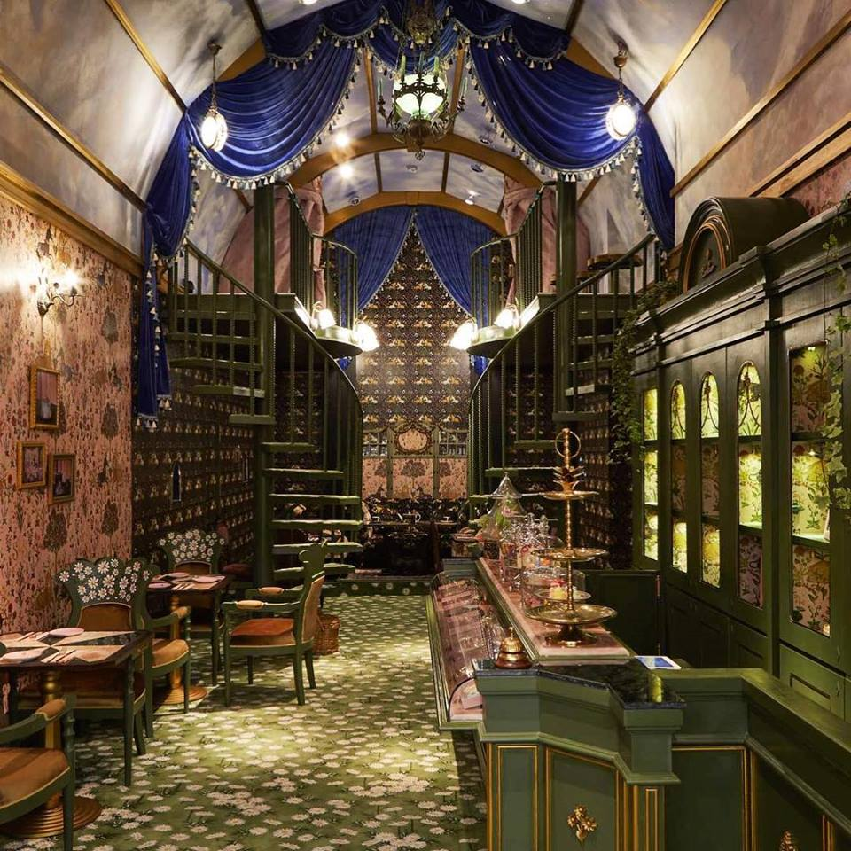 Stretsis main room with dark, gothic and romantic interior