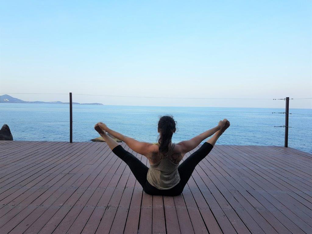 Doing yoga on the sun deck