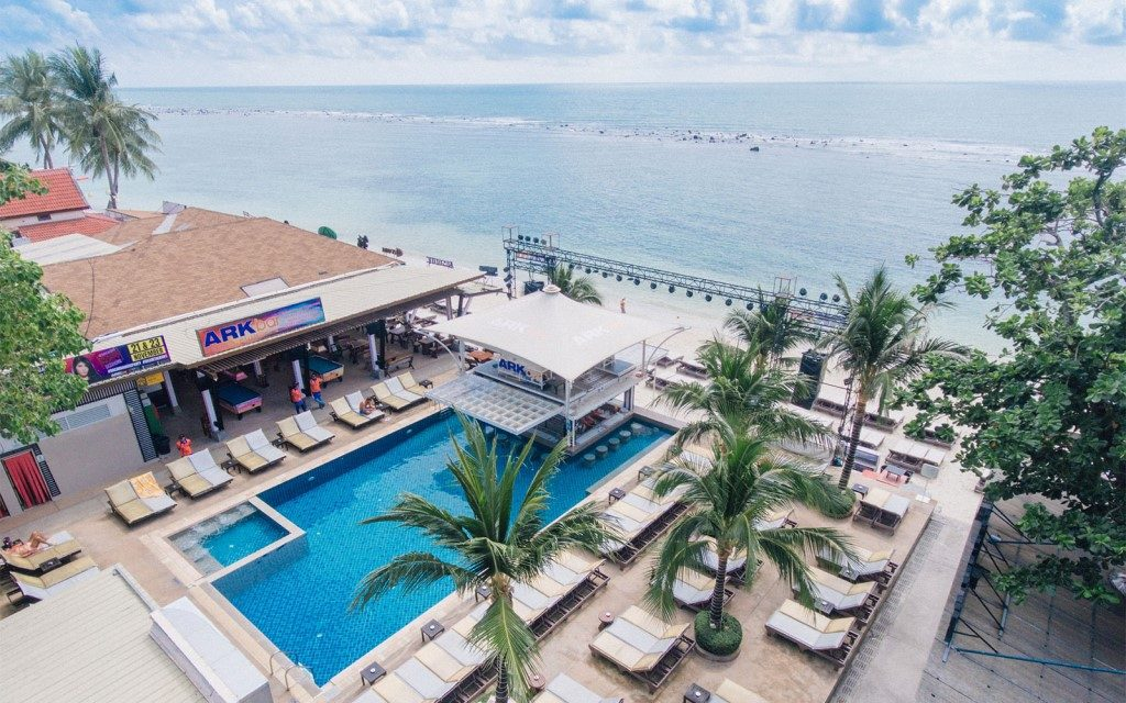 A hotel pool complex by the beach on Koh Samui